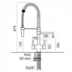 Azzurra Breve Brushed Chrome 3-Way Kitchen Tap Spray Hose -Dimensions