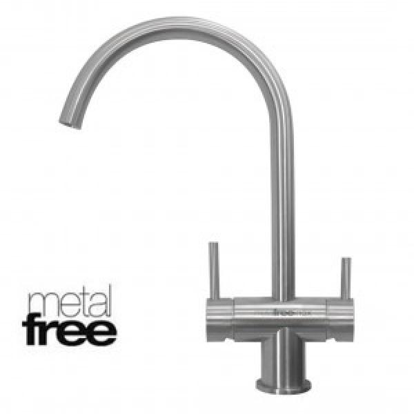 Ares Inox Brushed Chrome 3-Way Tap (metal-free)